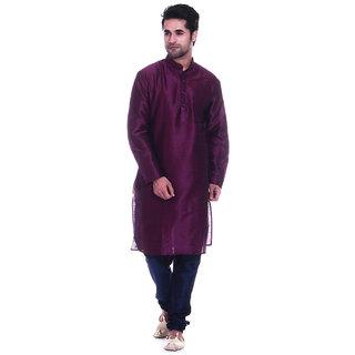 Larwa Men's Purple Relaxed Fit Ethnic Wear