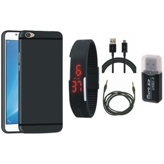 Vivo V3 Soft Silicon Slim Fit Back Cover with Memory Card Reader, Digital Watch, USB Cable and AUX Cable