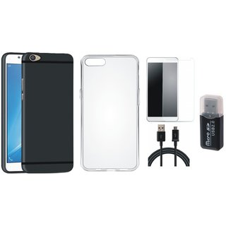 Vivo V3 Soft Silicon Slim Fit Back Cover with Memory Card Reader, Silicon Back Cover, Tempered Glass and USB Cable