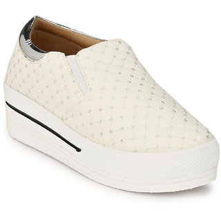 buy groofer women's silver white smart casuals shoes