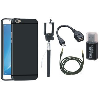 Vivo V3 Silicon Slim Fit Back Cover with Memory Card Reader, Selfie Stick, OTG Cable and AUX Cable