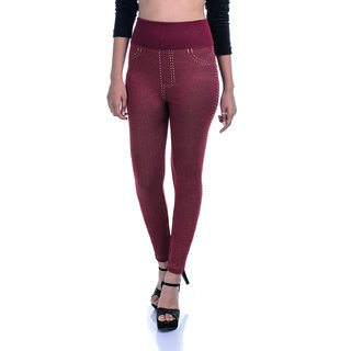 Timbre Skinny Fit Denim Printed High Waist Strachable Lycra Maroon Jeggings
