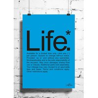 Cool Funky Funny Life Wall Posters, Art Prints, Decals (8X12 Inches) Blue