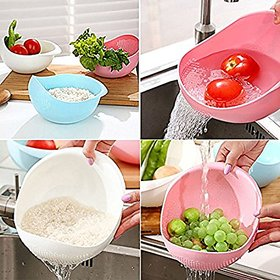 Rice Pulses Vegetable Noodles Pasta Washing Plastic Bowl & Strainer/Colanders (Set of 2) (Colour May Vary)