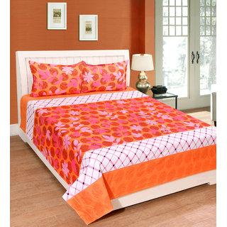 Fame Sheet Cotton Orange Artistic Floral Double Bedsheet
