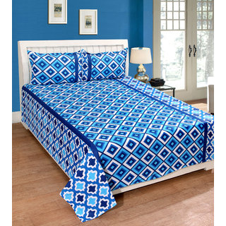 Fame Sheet Cotton Multishade Blue Artistic Square Pattern Double Bedsheet