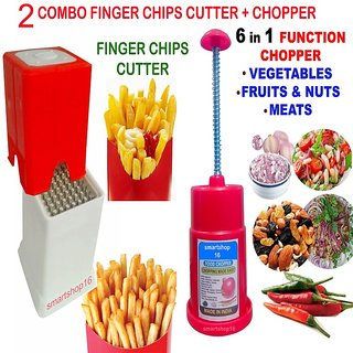 Combo Finger Potato Chips Cutter French Fries+Vegetable Food Chopper