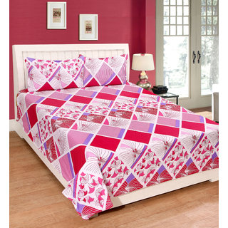 Fame Sheet Cotton White & Red Diamond Pattern Double Bedsheet