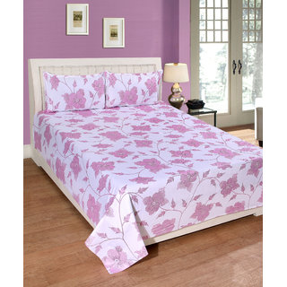 Fame Sheet Cotton Royal White Glittered Pink Floral Double Bedsheet