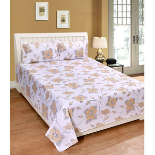 Fame Sheet Cotton Royal White Glittered Yellow Floral Double Bedsheet