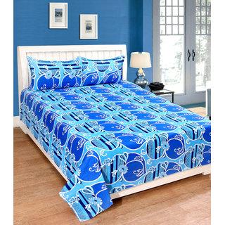 Fame Sheet Cotton Blue Artistic Floral Double Bedsheet