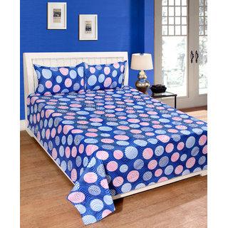Fame Sheet Cotton Blue Round Pattern Double Bedsheet