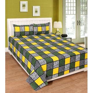 Fame Sheet Cotton Yellow  Green Multicolour Square Pattern Bedsheet