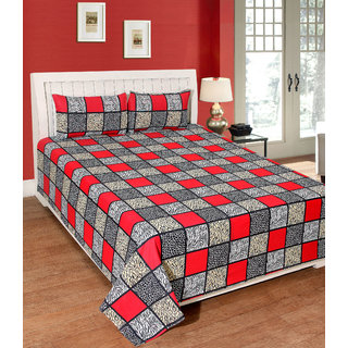 Fame Sheet Cotton Red Multicolour Square Pattern Bedsheet
