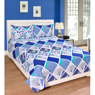 Fame Sheet Cotton White  Blue Diamond Pattern Double Bedsheet