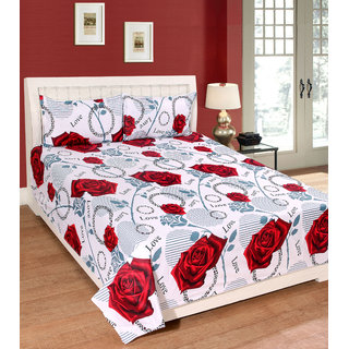 Fame Sheet Cotton Royal White Rose Double Bedsheet