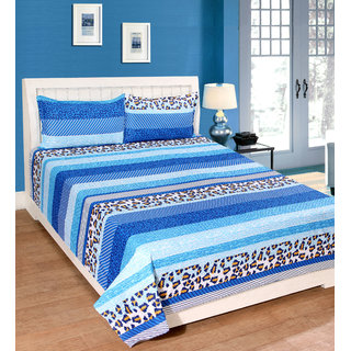 Fame Sheet Cotton Multi Shades Blue Stripped Pattern Double Bedsheet