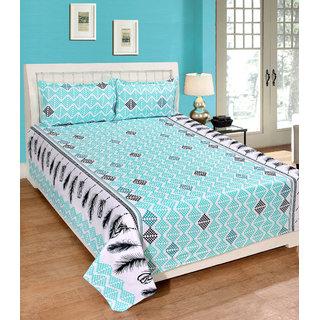 Fame Sheet Cotton Sky Blue Artistic Diamond Pattern Bedsheet