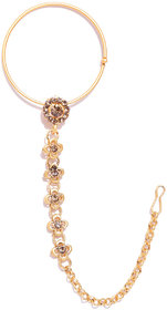 Zaveri Pearls Gold Tone Traditional Nose Ring-ZPFK6775