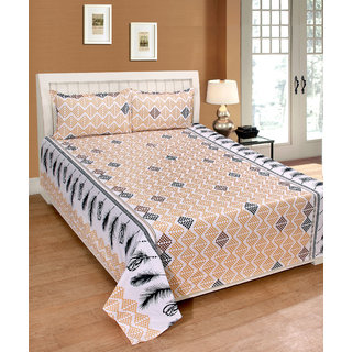 Fame Sheet Cotton Yellow Diamond Pattern Double Bedsheet