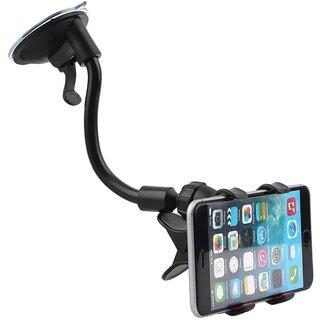 SCORIA Tube Mobile Holder With Multi-Angle 360 Degree Rotating Clip, Windshield Dashboard Smartphone Car Holder (Black)