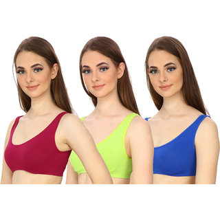 Hothy Women's Full Coverage Maroon Green  Blue Sports Bra (Pack Of 3)