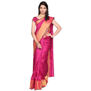 Indian Fashionista Pink Cotton Plain Saree With Blouse