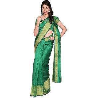Indian Fashionista Green Cotton Plain Saree With Blouse