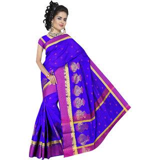 Indian Fashionista Blue Cotton Self Design Saree With Blouse