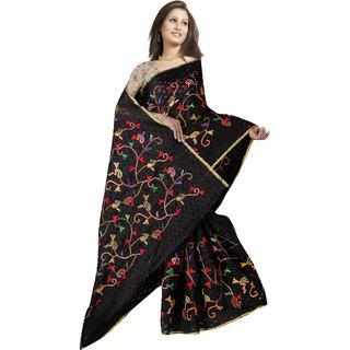 Indian Fashionista Black Brasso Self Design Saree With Blouse