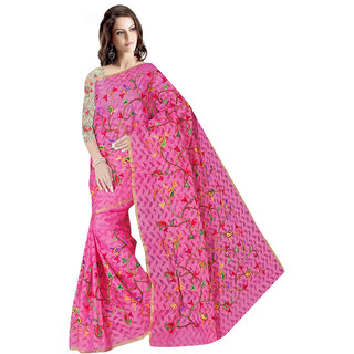 Indian Fashionista Pink Brasso Self Design Saree With Blouse