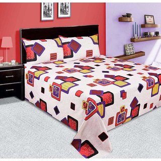 Marvels beautiful cotton floral double bed sheet with two pilow cover (AZCOTTONFLORALBS-06)