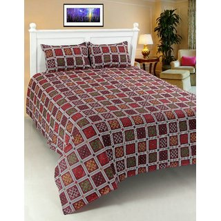 JAGJYOTI 100 COTTON PRINTED BED COVER WITH TWO PILLOW COVER SIZE 7.5 X 7.5 FT