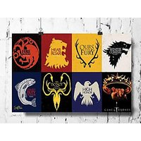 Cool Abstract Game Of Thrones Box Flags Wall Posters, Art Prints, Decals (8X12 Inches)