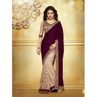 Get best deal for Leeps Prints Maroon Velvet Designer Saree With Embroidered Blouse at Compare Hatke