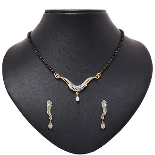 Pourni GoldenSilver Alloy Gold Plated Mangalsutra With Earrings For Women