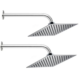 Prestige 6x6 Ultra Slim Rain Shower Head with 15inch Round Arm -Pack of 2
