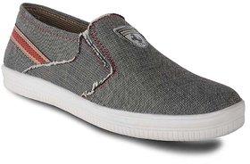 Duster Men Leather Grey Slip On Sneaker