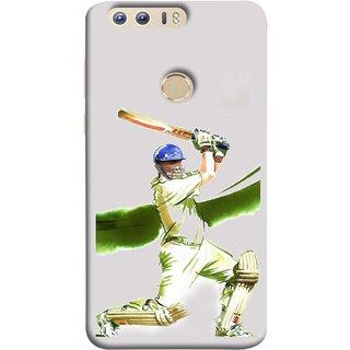 FUSON Designer Back Case Cover For Huawei Honor 8 (Cricket Bat Ball Helmet Green Ground Batsman)