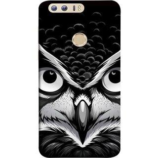 FUSON Designer Back Case Cover For Huawei Honor 8 (Grey Owl Night Vision Big Beak Killing Look)