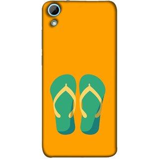 FUSON Designer Back Case Cover For HTC Desire 628 :: HTC Desire 628 Dual Sim  (Green Chapplas With Yellow Belts On Orange Back)
