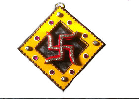 Hand Made Kundan Swastik Yellow And Red