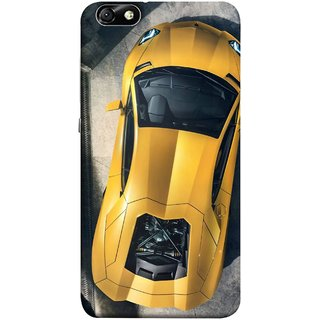 FUSON Designer Back Case Cover For Huawei Honor 4X :: Huawei Glory Play 4X (Yellow 918 Spyder Top View Expensive Cars)