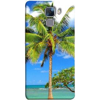 FUSON Designer Back Case Cover For Huawei Honor 7 :: Huawei Honor 7 (Enhanced Edition) :: Huawei Honor 7 Dual SIM (Palmtrees At The Beach Sea Blue Sky New Horizons )
