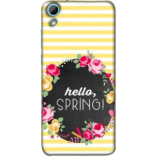 FUSON Designer Back Case Cover For HTC Desire 628 :: HTC Desire 628 Dual Sim  (Flowers Cake White And Yellow Horizontal Strips )