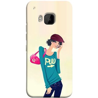 FUSON Designer Back Case Cover For HTC One M9 :: HTC One M9S :: HTC M9 (Morden Lady Tshirt Jeans Cap Beautiful Girly)
