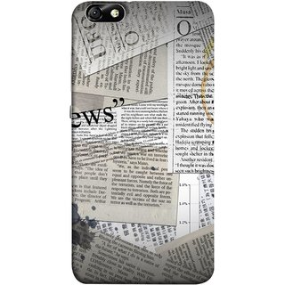 FUSON Designer Back Case Cover For Huawei Honor 4X :: Huawei Glory Play 4X (Book Magazine Clippings Create Text-Based Newspaper)