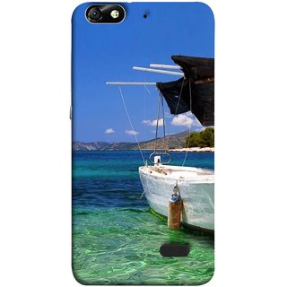 FUSON Designer Back Case Cover For Huawei Honor 4C :: Huawei G Play Mini (Boat Floating In The Clear Water Island Enjoy Holidays)
