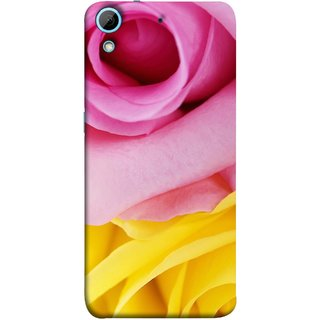 FUSON Designer Back Case Cover For HTC Desire 728 Dual Sim :: HTC Desire 728G Dual Sim (Pink Red Baby Yellow Shades Friendship Flowers Roses)