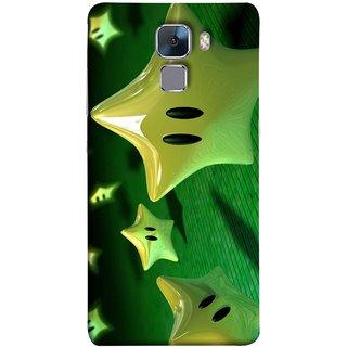 FUSON Designer Back Case Cover For Huawei Honor 7 :: Huawei Honor 7 (Enhanced Edition) :: Huawei Honor 7 Dual SIM (Shy Many Gold Star Cartoon Emoji Emotions In Air )